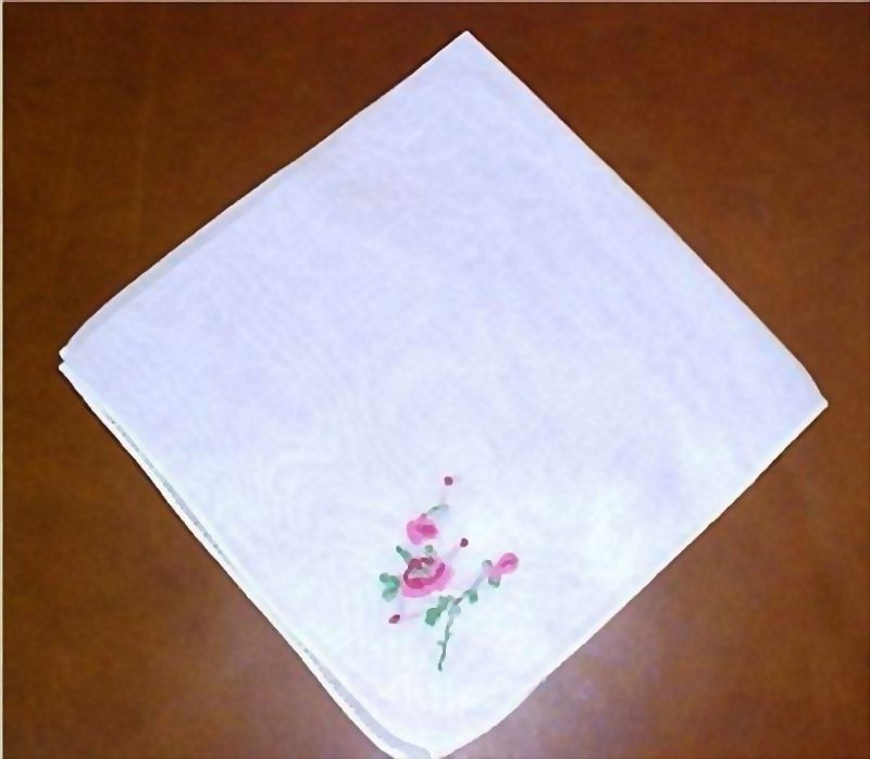 Vintage Rose Embroidered White Hankie