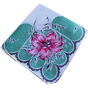 Vintage Ladies Green & Red Flower Hankie Handkerchief