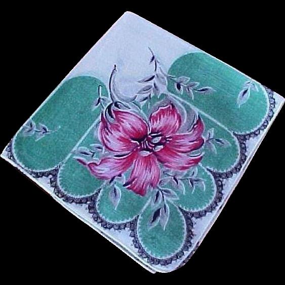 Vintage Ladies Green & Red Flower Hankie Handkerchief