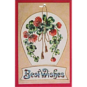 Vintage Best Wishes Greeting Postcard - Antique Post Card Horse Shoe and Four Leaf Clover