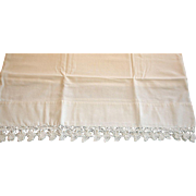 Vintage White on White Hand Crochet Edge Pillowcase