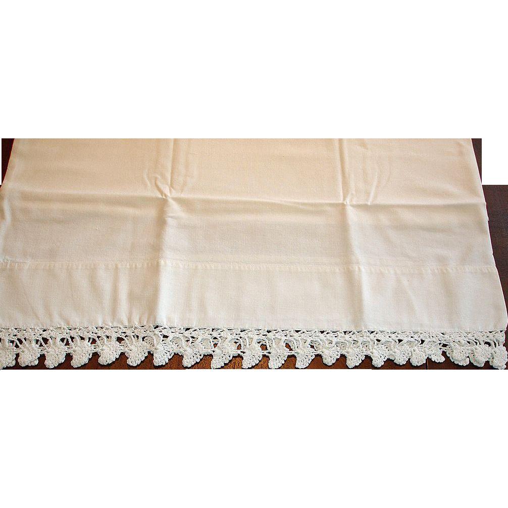 Vintage White on White Hand Crochet Edge Pillowcase