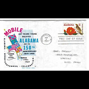 FDC First Day Cover - Alabama Sesquicentennial - 1969