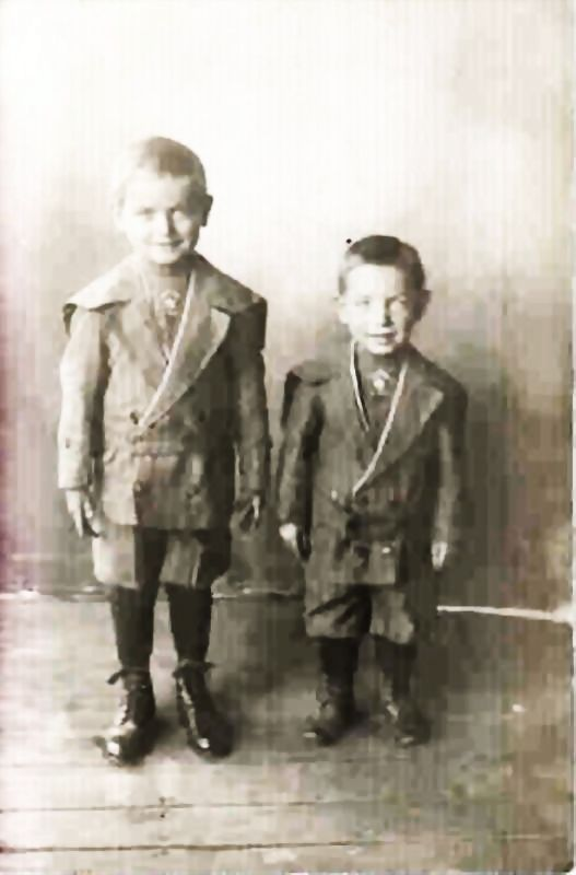 Real Photo Postcard - Young Boys in High Top Shoes and  Short Pants