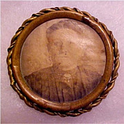 Antique Victorian Mourning Portrait or Photo Brooch - Antique Mourning Jewelry