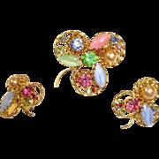Vintage AUSTRIAN Crystal Rhinestone Jewelry - Brooch and Earrings Set - Demi Parure Jewelry