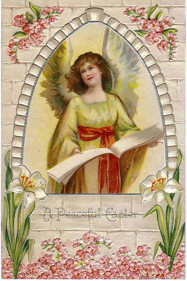 Vintage Embossed Easter Greeting Postcard - Angel Post Card