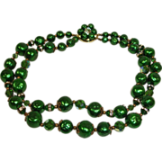 Vintage 2 Strand Green Bead & Rhinestone Necklace