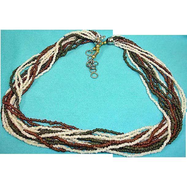 Vintage 14 Strand Seed Bead Torsade Necklace