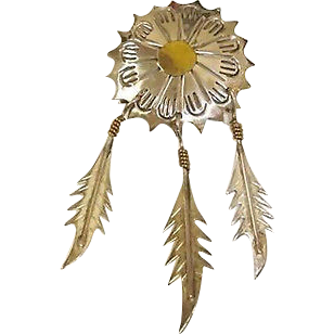 MEXICO Sterling Silver Brooch - 3 Dangling Sterling Feathers - Vintage TAXCO Jewelry