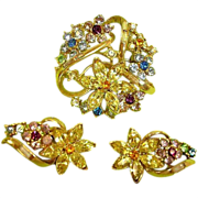 CORO Demi Parure Rhinestone Jewelry - 1950 ADOLPH KATZ Spring Flower Rhinestone Brooch and Earrings Set  - Vintage CORO Book Pieces