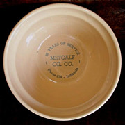 Yellow Ware Stoneware Advertising Bowl - Indianola Iowa - Metcalf Oil Co.- Old Crock Bowl