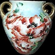 Antique Large Hand Painted Poppies Porcelain Vase Jardinière Jardiniere