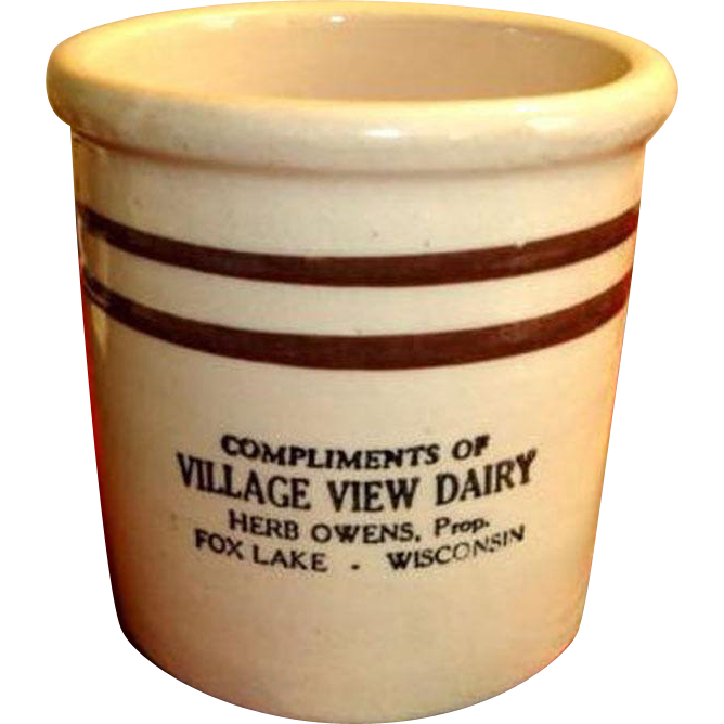 Crock Beater Jar with Advertising – Vintage Stoneware Crock - Fox Lake Wisconsin