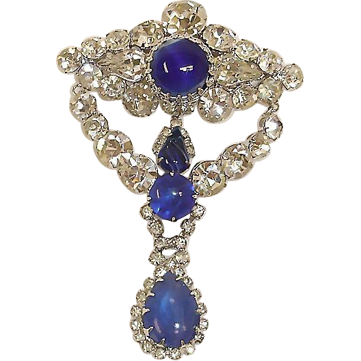VENDOME Sapphire Blue Rhinestone Dangle Brooch - Vintage Vendome Jewelry