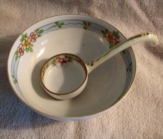 NIPPON Hand Painted Mayonnaise Set – Antique Mayo Bowl and Spoon