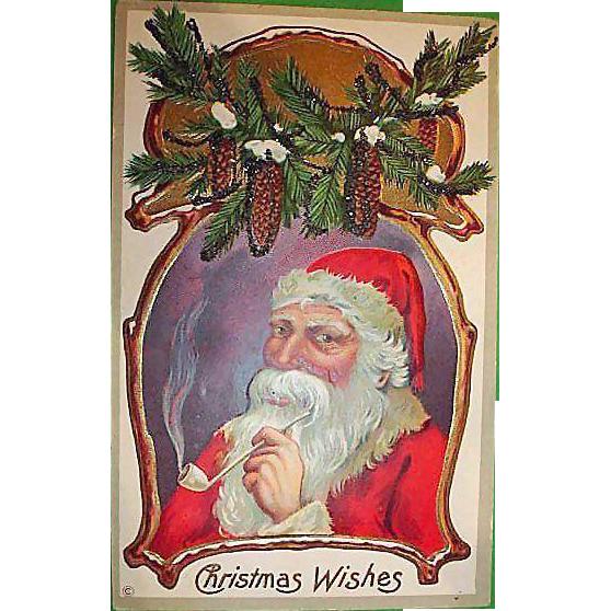 Vintage Santa Claus Post Card - Christmas Holiday Greetings Postcard