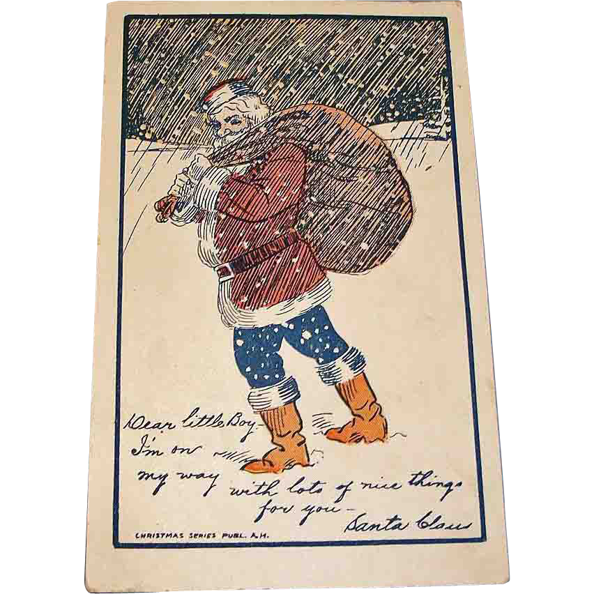 Vintage Santa Claus Post Card - Antique Christmas Holiday Greetings Postcard