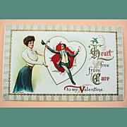 Vintage Embossed Valentine Greetings Postcard - Antique Post Card