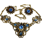 Early CORO Demi parure - Blue Rhinestone Necklace and Earrings Set - Vintage CORO Jewelry