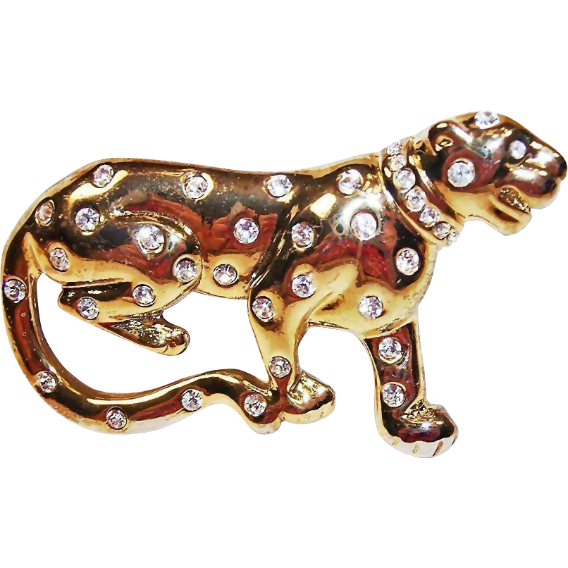 Estate Rhinestone Big WILD Cat -  Vintage Large Leopard  Cat Brooch
