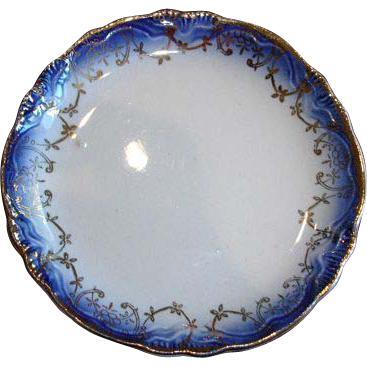 Antique Flow Blue Butter Pat with Scalloped Edge
