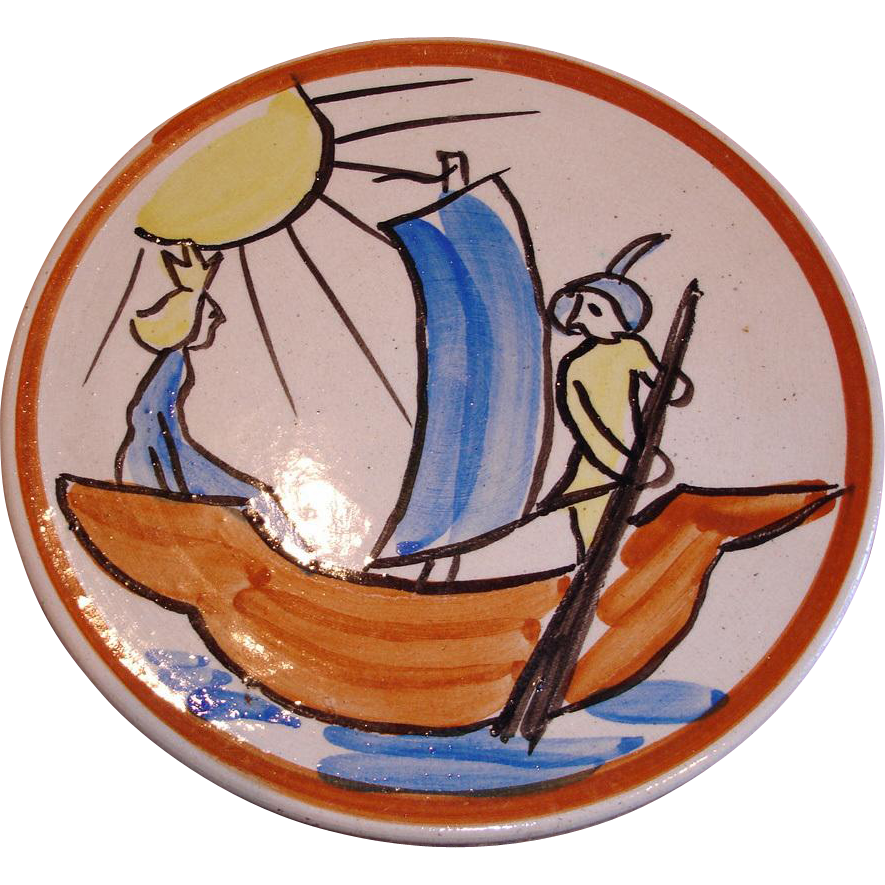 Vintage Finnish Folk Art Plate / Plaque/ Plack - Hand Painted Pottery  - Made in Finland Wall Plate