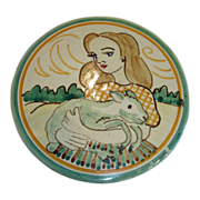 Vintage Finnish Folk Art Plate / Plaque/ Plack - Hand Painted Pottery Made in Finland Wall Plate
