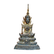 Antique Sitting  Buddha Statue  Figure with Gold Gilt Wash