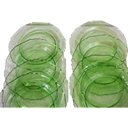 "Depression Glass Plates 9"" - Set of 8 Green Depression Glass Plates"