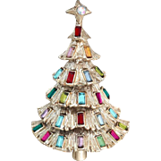 KRAMER Multi Colored Rhinestone Christmas Tree Pin - Vintage KRAMER Jewelry