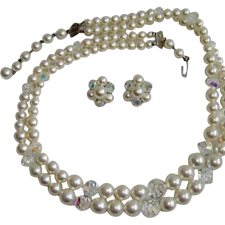 LAGUNA Glass Pearls and AB Crystal Beads Necklace and Earrings Set – Vintage Laguna Demi Parure Jewelry