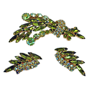 Vintage Juliana Brooch and Earrings - Delizza and Elster Demi Parure - Delizza & Elster Jewelry