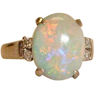 Estate  18K White Gold Australian Opal  and Diamond Ring -  Size 7