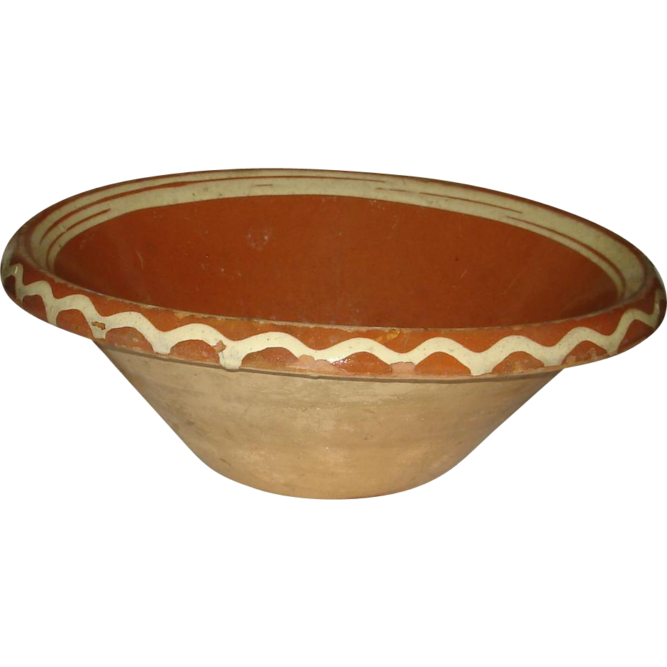 Early French Country Pottery Dough Bowl with Slip Decoration