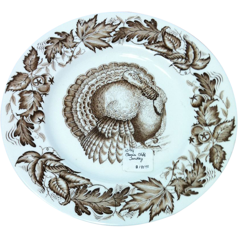 Vintage Clarice Cliff Autumn Foliage Turkey Plate
