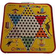 Mid Century Tin Chinese Checkers and Checker Game