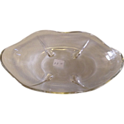 Vintage Clear Glass Candy Dish Teardrop Feet