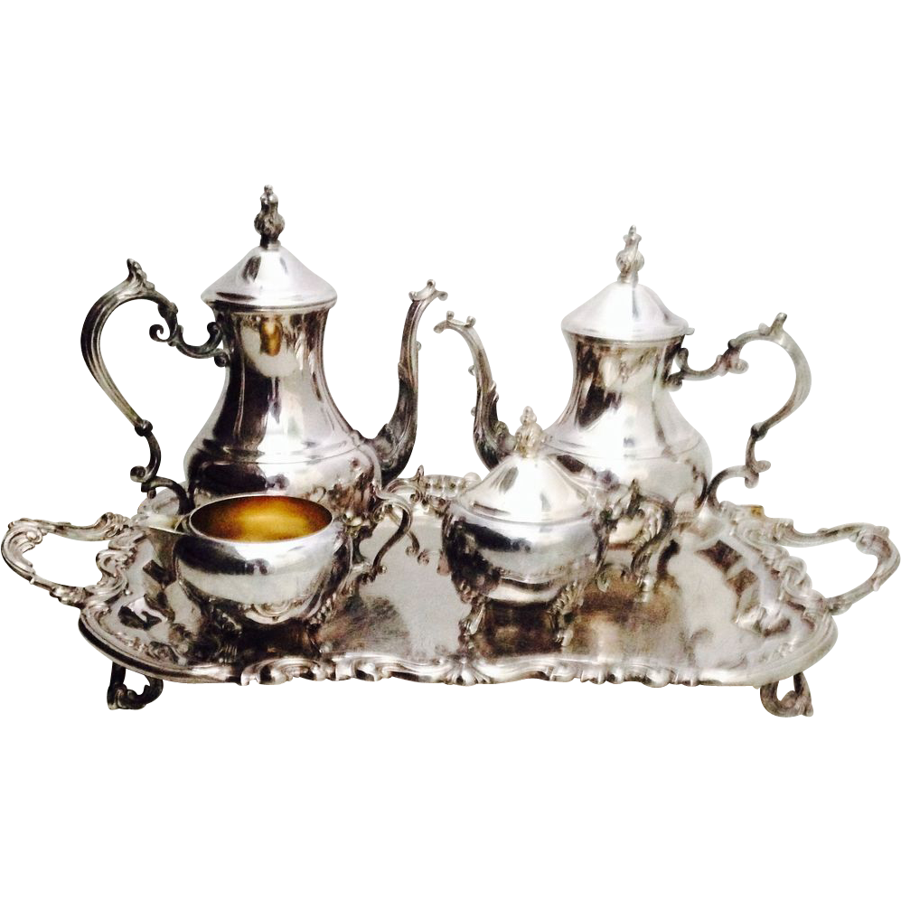 Vintage F B Rogers Silverplate Tea and Coffee Service Set