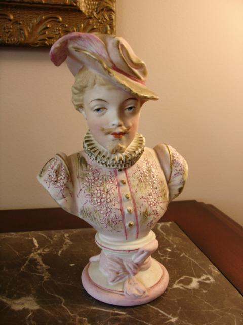 Antique German Bisque Bust of Gentleman w/Feathered Hat