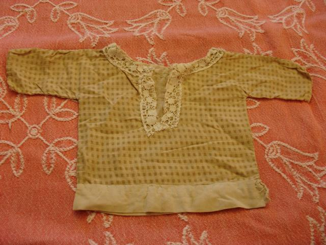 Early Child-made Brown Gingham Doll Shirt