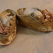 Antique Leather Doll Shoes Low Heel