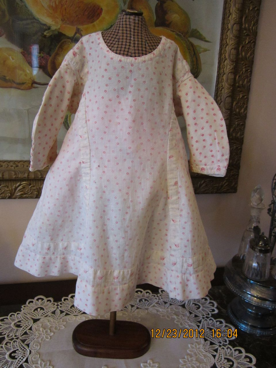 Sweet Pink Rosebud Antique Baby Dress