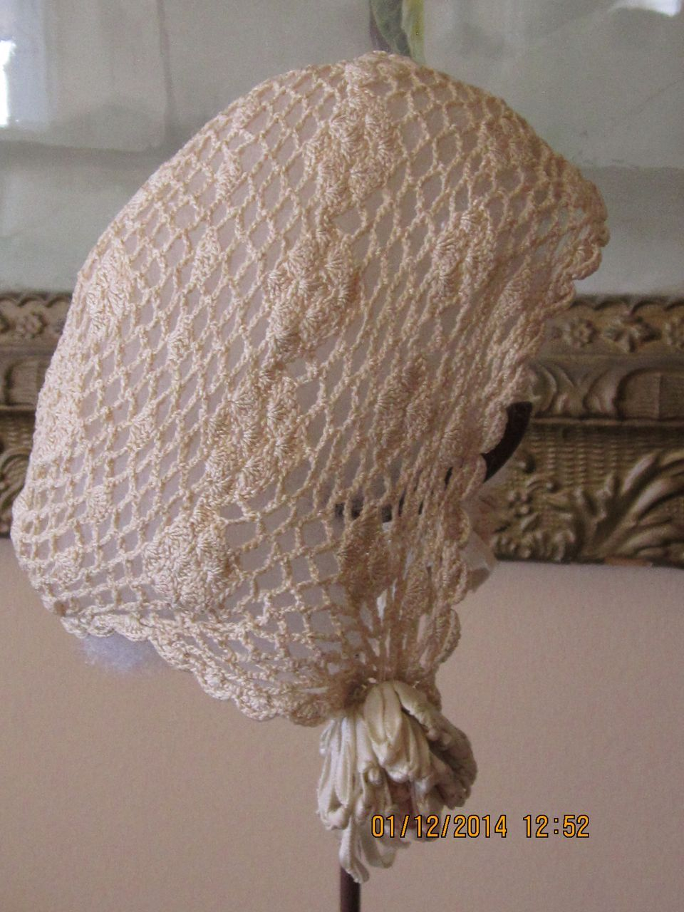 Sweet Crocheted Bonnet w/Ribbon Rosettes