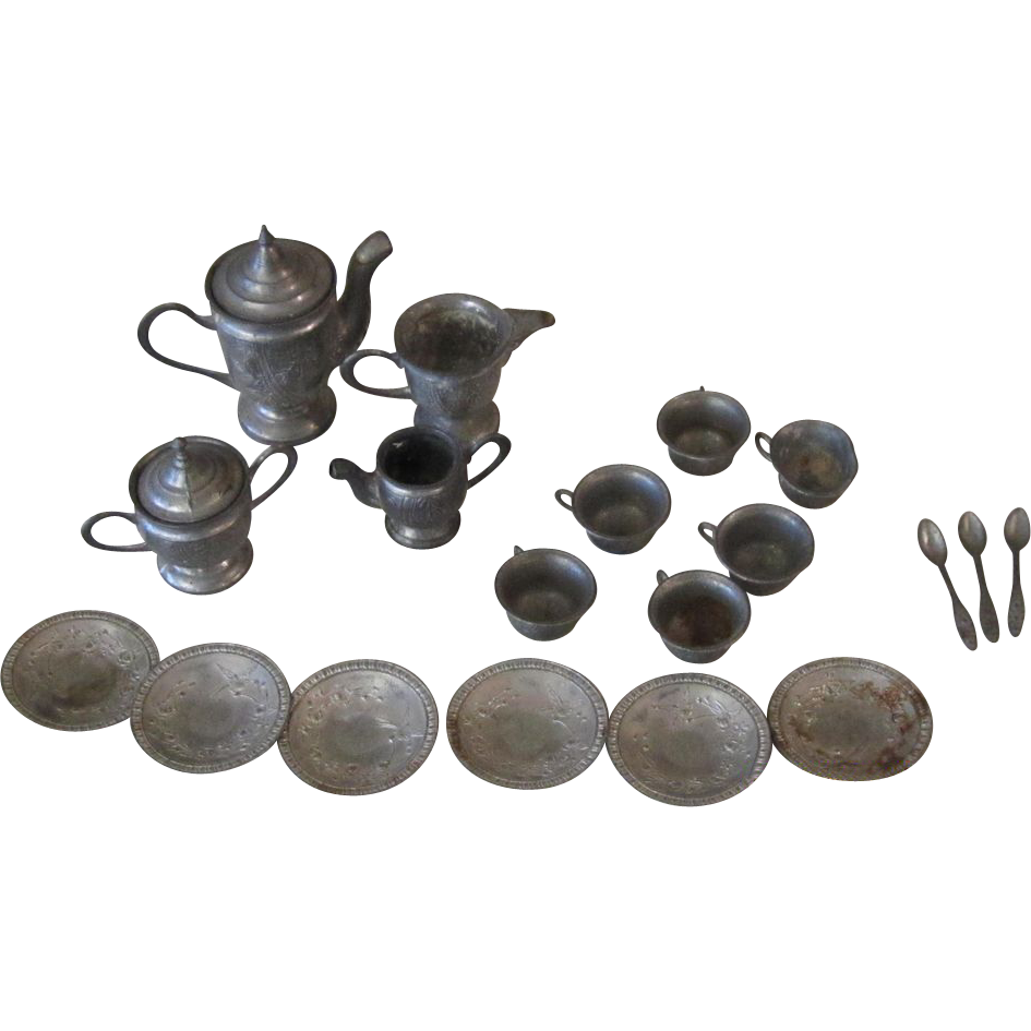 20 Pc Pewter Doll Teaset