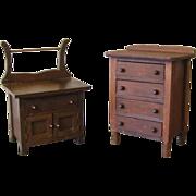 Antique Doll Highboy Dresser and Washstand