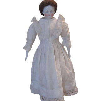 "18"" Biedermeier China Doll with Original Wig"