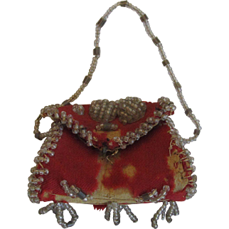 Pretty Antique Beaded Orange Doll Purse