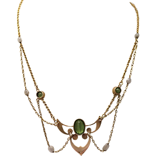 Art Nouveau Peridot and Cultured Pearl Festoon Necklace