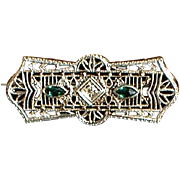 Art Deco Filigree Brooch: 10K, .02ct Diamond